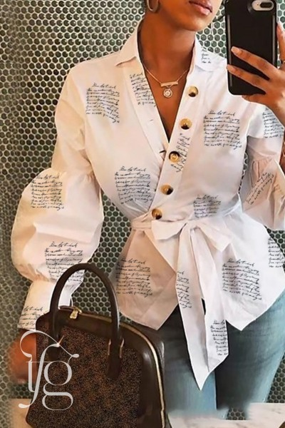 White Peplum Blouse with Pop Sleeves