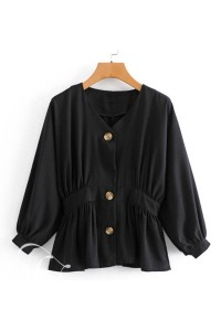 Sleeve Buttons Casual Black