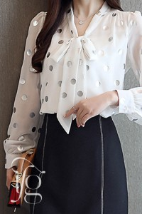 bow gold dots blouse