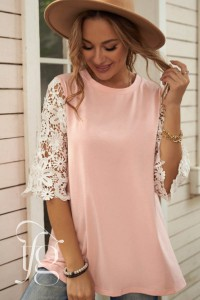 Pink Lace Sleeves Tunic Top