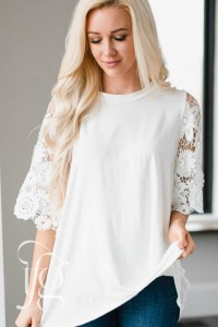 White Lace Sleeves Tunic Top