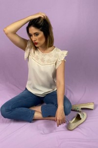 nude lace shirt