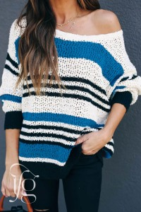 Blue Loose Fit Striped