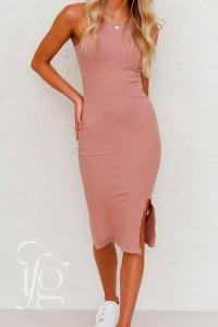 pink casual bodycon